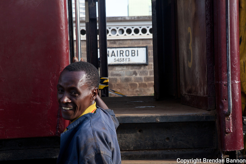John Kiarie, a brakeman in the rail yard of Nairobi Railways Station.