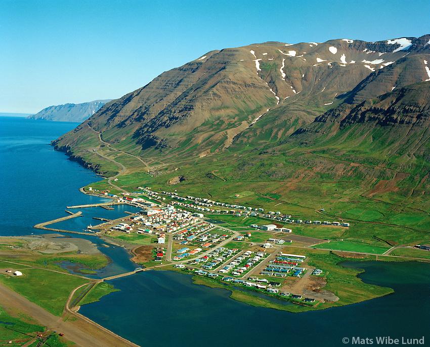 Ólafsfjörður séð til austurs, Fjallabygð / Olafsfjordur viewing east. Fjallabyggd.