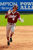 HOUSTON, TEXAS-Feb. 20, 2011:  Lonnie Kauppilla of Stanford runs the bases following his home run against Rice, in Houston, Texas.  Stanford defeated Rice 6-2.