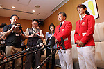 (L-R) <br />  Yuji Nagai, <br /> Miyuki Nakagawa (JPN), <br /> JULY 15, 2016 - Hockey : <br /> Japan women's national hockey team send-off party <br /> for the Rio 2016 Olympic Games in Tokyo, Japan. <br /> (Photo by AFLO SPORT)