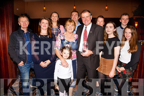 Receiving the Appreciation Award for his contribution to rowing at the South & Mid Kerry Rowing Social in the Ring of Kerry Hotel on Saturday night last was John Joe O'Sullivan from Callinafercy pictured here with his family l-r; Seamus Murphy, Norma O'Shea, Jackie Murphy, Kara, Geradine, Tim, John Joe, Anne, Adel, Evan & Caoimhe O'Sullivan.