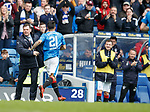 22.04.2018 Rangers v Hearts: Daniel Candeias runs to Andy Halliday to celebrate his goal