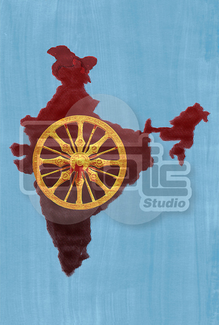 Illustrative of konark wheel against Indian map