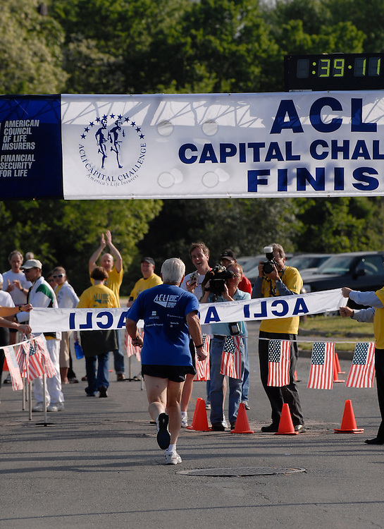 Sen. Dick Lugar, R-Ind., finishes the 25th annual ACLI Capital Challenge 3 mile race in Anacostia Park.  He has ran in all 25 races.