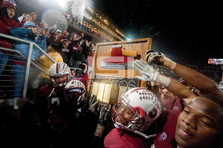 STANFORD, CA - NOVEMBER 19: The Stanford Cardinal retains possession of the Axe after the 114th annual Big Game at Stanford Stadium, November 19, 2011 in Stanford, California. The Stanford Cardinal defeated the California Golden Bears 31-28.