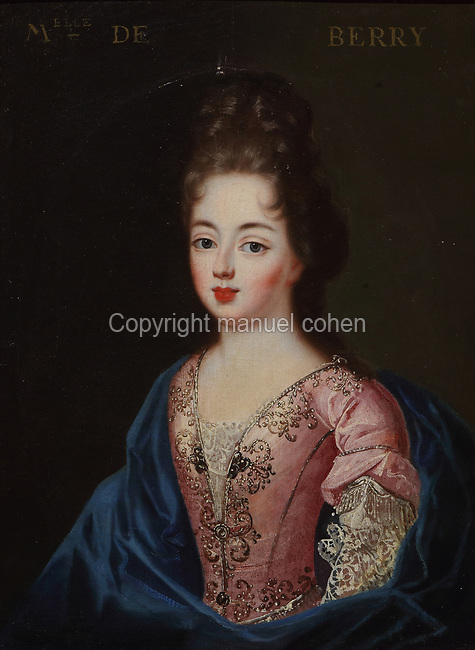 Portrait of Mademoiselle de Berry, wearing a pink dress with pearls and a blue cloak, oil painting on canvas, c. 1625, by unknown artist, from the Gallery of portraits from the Chateau de Saint Germain-Beaupre, Creuse, now in the Musee des Beaux-Arts de la Ville de Blois, housed since 1869 on the first floor of the Louis XII wing of the Chateau Royal de Blois, built 13th - 17th century in Blois in the Loire Valley, Loir-et-Cher, Centre, France. The museum originally opened in 1850 in the Francois I wing, but moved here in 1869 after the rooms had been restored by Felix Duban in 1861-66. The chateau has 564 rooms and 75 staircases and is listed as a historic monument and UNESCO World Heritage Site. Picture by Manuel Cohen
