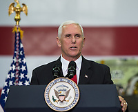 In this photo released by the National Aeronautics and Space Administration (NASA) United States Vice President Mike Pence addresses NASA employees, Thursday, July 6, 2017, at the Vehicle Assembly Building at NASAís Kennedy Space Center (KSC) in Cape Canaveral, Florida. The Vice President thanked employees for advancing American leadership in space, before going on a tour of the center that highlighted the public-private partnerships at KSC, as both NASA and commercial companies prepare to launch American astronauts from the multi-user spaceport. Photo Credit: Aubrey Gemignani/NASA/CNP/AdMedia