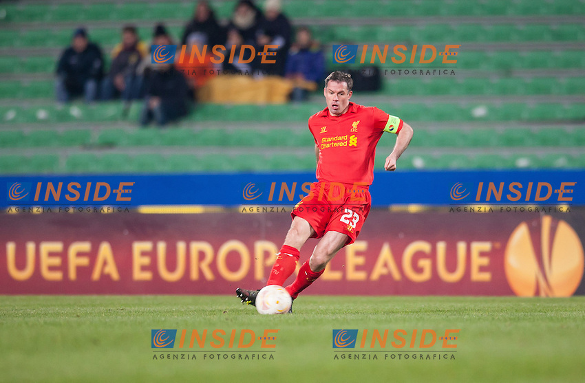 06.12.2012, Stadio Friuli, Udine, ITA, UEFA EL, Udinese Calcio vs FC Liverpool, Gruppe A, im Bild Jamie Carragher (# 23, Liverpool FC) // during the UEFA Europa League group A match between Udinese Calcio and Liverpool FC at the Stadio Friuli, Udinese, Italy on 2012/12/06. EXPA Pictures © 2012, PhotoCredit: EXPA/ Juergen Feichter .Udine 6/12/2012 Stadio Friuli.Football Calcio Europa League 2012/2013.Udinese Vs Liverpool.Foto EXPA/ Juergen Feichter / Insidefoto