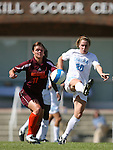 North Carolina's Heather O'Reilly (20) and Virginia Tech's Kylie Stanovics (11) challenge for the ball on Sunday, October 15th, 2006 at Fetzer Field in Chapel Hill, North Carolina. The University of North Carolina Tarheels defeated the Virginia Tech Hokies 1-0 in an Atlantic Coast Conference NCAA Division I Women's Soccer game.