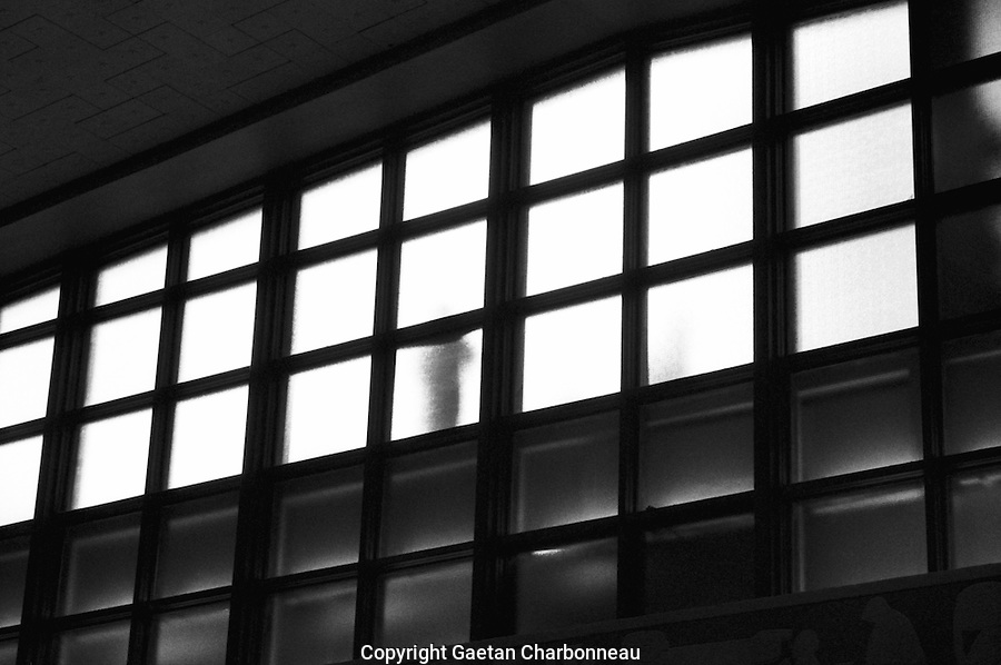 A silhouette waiting behind large gridded windows.