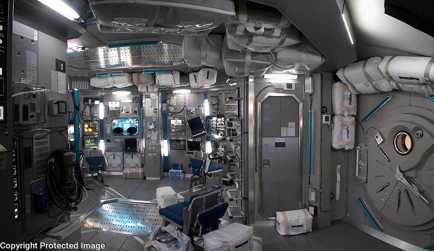 The space ship interior set was a complete two story structure built on a gimbaled platform which allowed it to rock and tilt.