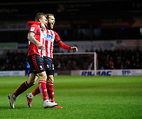 Lincoln City's Harry Anderson, left, celebrates scoring the opening goal with team-mate Jorge Grant<br /> <br /> Photographer Chris Vaughan/CameraSport<br /> <br /> The EFL Sky Bet League One - Lincoln City v Bolton Wanderers - Tuesday 14th January 2020  - LNER Stadium - Lincoln<br /> <br /> World Copyright © 2020 CameraSport. All rights reserved. 43 Linden Ave. Countesthorpe. Leicester. England. LE8 5PG - Tel: +44 (0) 116 277 4147 - admin@camerasport.com - www.camerasport.com