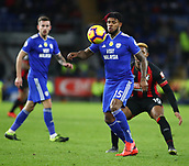 2nd February 2019, Cardiff City Stadium, Cardiff, Wales; EPL Premier League football, Cardiff City versus AFC Bournemouth; Leandro Bacuna of Cardiff City controls the ball with Jordon Ibe of Bournemouth closing in from behind
