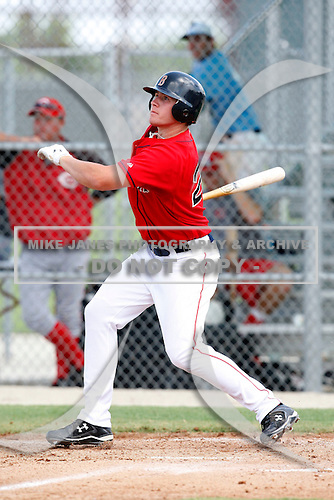 July 14, 2009:  Left Fielder Seth Schwindenhammer of the GCL Red Sox during a game at Boston Red Sox Training Complex in Fort Myers, FL.  The GCL Red Sox are the Gulf Coast Rookie League affiliate of the Boston Red Sox.  Photo By Mike Janes/Four Seam Images