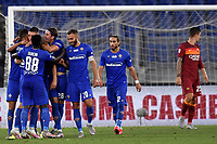 Nikola Milenkovic of ACF Fiorentina celebrates with team mates after scoring the goal of 1-1 during the Serie A football match between AS Roma and ACF Fiorentina at stadio Olimpico in Roma (Italy), July 26th, 2020. Play resumes behind closed doors following the outbreak of the coronavirus disease. <br /> Photo Antonietta Baldassarre / Insidefoto