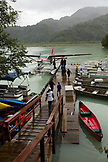 USA, Alaska, Redoubt Bay, Big River Lake, heading out on the dock to take the boat to Wolverine Cove