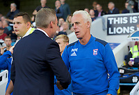 Mick McCarthy Manager of Ipswich Town (right) and Neil Harris Manager of Millwall shake hands before the Sky Bet Championship match between Millwall and Ipswich Town at The Den, London, England on 15 August 2017. Photo by Alan  Stanford / PRiME Media Images.