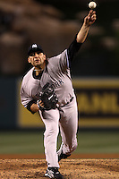 Andy Pettitte #46 of the New York Yankees pitches against the Los Angeles Angels at Angel Stadium on May 29, 2012 in Anaheim,California. Los Angeles defeated New York 5-1.(Larry Goren/Four Seam Images)