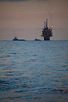 Oil platform, in the Gulf of Mexico. There are nearly 5,000 functioning oil platforms in the Gulf of Mexico, and 27,000 abandoned wells.