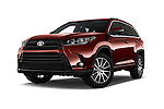 Stock pictures of low aggressive front three quarter view of 2017 Toyota Highlander SE 5 Door SUV Low Aggressive