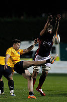 Matas Jurevicius of London Scottish blocks the kick from Yorkshire Carnegie during the Championship Cup match between London Scottish Football Club and Yorkshire Carnegie at Richmond Athletic Ground, Richmond, United Kingdom on 4 October 2019. Photo by Carlton Myrie / PRiME Media Images