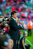 Manager of Wales Chris Coleman applauds during their UEFA EURO 2016 Group B qualifying round match held at Cardiff City Stadium, Cardiff, Wales, 06 September 2015. EPA/DIMITRIS LEGAKIS