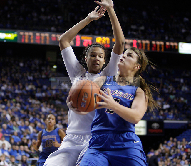 UK forward/center Azia Bishop defends DePaul guard Anna Martin during the first half of the women's basketball game v. Depaul University in Rupp Arena in Lexington, Ky., on Sunday, December 7, 2012. Photo by Genevieve Adams   Staff