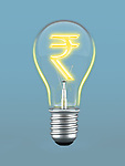 Indian currency symbol in a light bulb