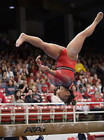 Arkansas' Jessica Yamzon competes Friday, Feb. 7, 2020, in the beam portion of the Razorbacks' meet with Georgia in Barnhill Arena in Fayetteville. Visit  nwaonline.com/gymbacks/ for a gallery from the meet.<br /> (NWA Democrat-Gazette/Andy Shupe)