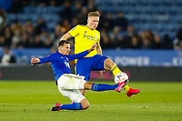 4th March 2020; King Power Stadium, Leicester, Midlands, England; English FA Cup Football, Leicester City versus Birmingham City; Kristian Pedersen of Birmingham City is tackled by Marc Albrighton of Leicester City