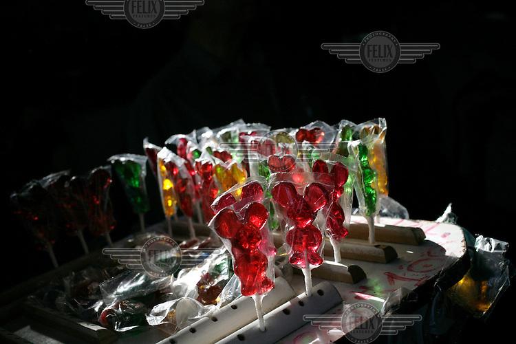 Sugar mice for sale at the La Vega Central market.
