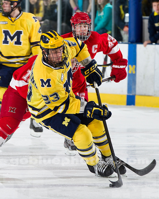 The University of Michigan hockey team defeated Miami, 3-0, at Yost Ice Arena in Ann Arbor, Mich., on February 4, 2012.
