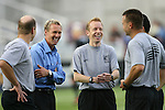 19 May 2007: Kansas City assistant coach Chris Henderson (2nd from left) with Fourth Official Brian Hall (l), Assistant Referees Corey Rockwell (2nd from right), C.J. Morgante (r), and Referee Jose Gonzalez (behind, right) before the game. The Colorado Rapids and the Kansas City Wizards played to a 1-1 tie at Dick's Sporting Goods Park in Commerce City, Colorado in a Major League Soccer 2007 regular season game.