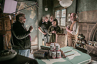 The Shape of Water (2017) <br /> Behind the scenes photo of Guillermo del Toro, Sally Hawkins &amp; Richard Jenkins  <br /> *Filmstill - Editorial Use Only*<br /> CAP/MFS<br /> Image supplied by Capital Pictures