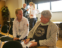 The Netherlands, Den Bosch, 16.04.2014. Fed Cup Netherlands-Japan, Press-conference Netherlands team, Richel Hogenkamp, is interviewed bij Peter Klein.<br /> Photo:Tennisimages/Henk Koster