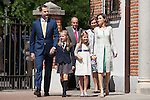King Felipe VI of Spain, Princess Leonor of Spain, Princess Sofia of Spain and Queen Letizia of Spain arrive at the Asuncion de Nuestra Senora Church for the First Communion of the Princess Leonor of Spain in Madrid, Spain. May 20, 2015. (ALTERPHOTOS/Victor Blanco)