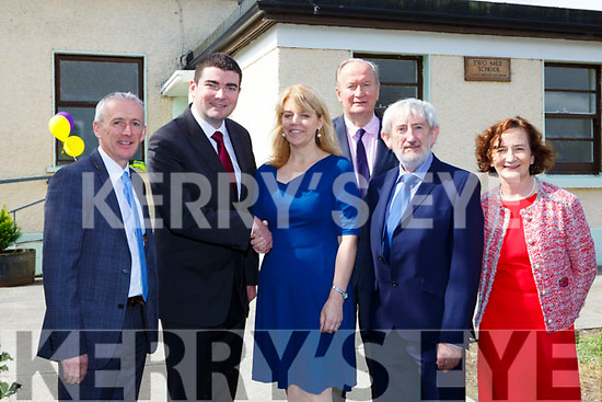 Minister Brendan Griffin congratulates Principal Catherine Barry at the official opening of the Two Mile Community NS on Wednesday l-r: Colm McEvoy Kerry ETB, Minister Brendan Griffin, Catherine Barry Principal, Jim Finucane Chairman ETB, Padraig O Donnabhain Manager, Ann O'Dwyer Director of Schools ETB