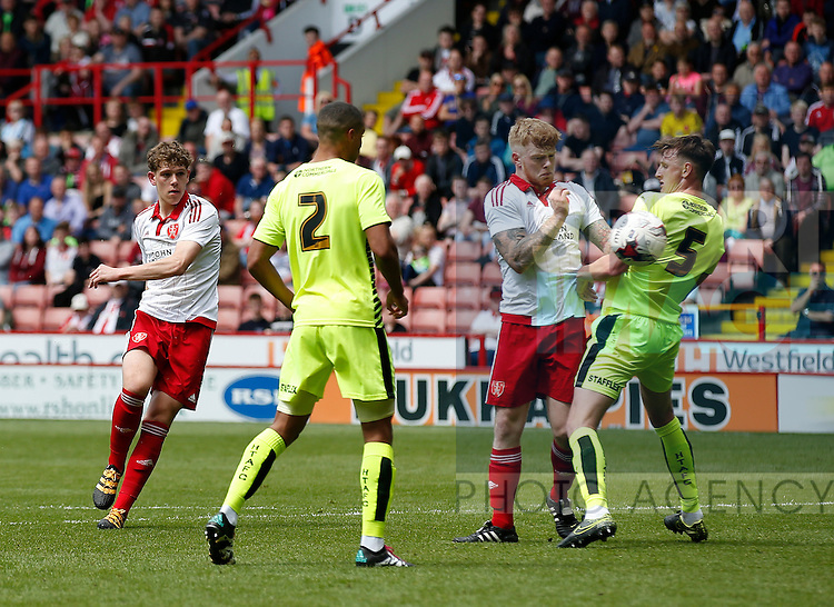 Callum Semple of Sheffield Utd send the ball towards goal during the PDL U21 Final at Bramall Lane Sheffield. Photo credit should read: Simon Bellis/Sportimage