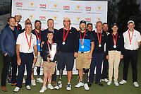 Brendan Lawlor (International) with his team mates after winning the ISPS HANDA Disabled Golf Cup at the Presidents Cup 2019, Royal Melbourne Golf Club, Melbourne, Victoria, Australia. 13/12/2019.<br /> Picture Thos Caffrey / Golffile.ie<br /> <br /> All photo usage must carry mandatory copyright credit (© Golffile   Thos Caffrey)