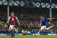 26th December 2019; Goodison Park, Liverpool, Merseyside, England; English Premier League Football, Everton versus Burnley; Dominic Calvert-Lewin of Everton  lines up a shot at goal as Ben Mee of Burnley moves to make a block - Strictly Editorial Use Only. No use with unauthorized audio, video, data, fixture lists, club/league logos or 'live' services. Online in-match use limited to 120 images, no video emulation. No use in betting, games or single club/league/player publications