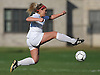 Lauren Borelli #15 of East Islip makes an acrobatic play to settle a pass during a Suffolk County Class AA varsity girls soccer first round playoff game against North Babylon at East Islip High School on Monday, Oct. 24, 2016. East Islip won by a score of 1-0.