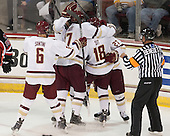 Steve Santini (BC - 6), (Savage), Destry Straight (BC - 17), Michael Sit (BC - 18), Quinn Smith (BC - 27), Tim Benedetto - The Boston College Eagles defeated the visiting University of New Brunswick Varsity Reds 6-4 in an exhibition game on Saturday, October 4, 2014, at Kelley Rink in Conte Forum in Chestnut Hill, Massachusetts.