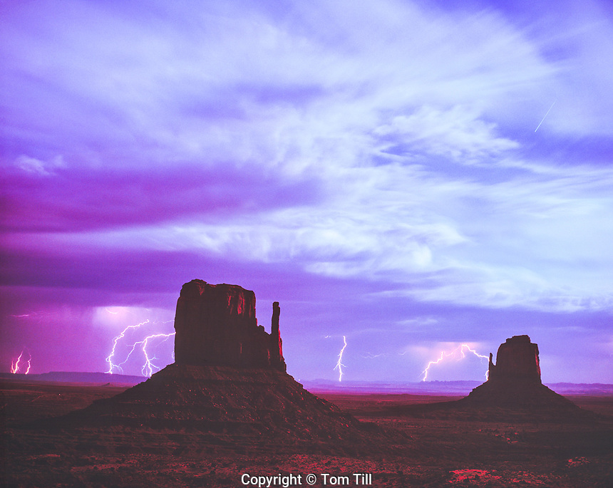 Moonlit Lightning, Monument Valley Tribal Park, Utah/Arizona  Navajo Reservation   The Mittens Buttes