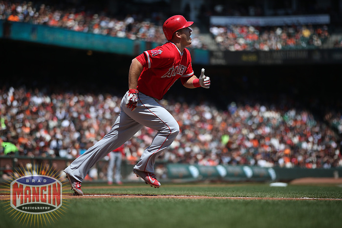 SAN FRANCISCO, CA - MAY 2:  Mike Trout #27 of the Los Angeles Angels runs to first base against the San Francisco Giants during the game at AT&T Park on Saturday, May 2, 2015 in San Francisco, California. Photo by Brad Mangin