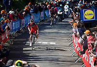 Silvan Dillier (SUI/BMC) leads the race in the 2nd ascent of the infamous Mur de Huy (1300m/9.8%)<br /> <br /> Fl&egrave;che Wallonne 2016