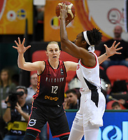 20200206 – OOSTENDE ,  BELGIUM : Belgian Ann Wauters (12) pictured defending on Canadian Kayla Alexander (14) during a basketball game between the national teams of Canada and the National team of Belgium named the Belgian Cats on the first matchday of the FIBA Women's Qualifying Tournament 2020 , on Thursday 6  th February 2020 at the Versluys Dome in Oostende  , Belgium  .  PHOTO SPORTPIX.BE   DAVID CATRY