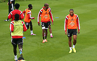 Pictured: Ashley Williams (R). . Thursday 14 August 2014<br /> Re: Swansea City FC training at Fairwood, south Wales, ahead of their first game of the Premier League season against Manchester United this coming Saturday.