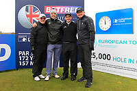 Dennis Taylor (AM), Mark Williams (AM), Paul Dunne (IRL) and John Parrott (AM) on the 10th tee during the Pro-Am of the Betfred British Masters 2019 at Hillside Golf Club, Southport, Lancashire, England. 08/05/19<br /> <br /> Picture: Thos Caffrey / Golffile<br /> <br /> All photos usage must carry mandatory copyright credit (&copy; Golffile | Thos Caffrey)