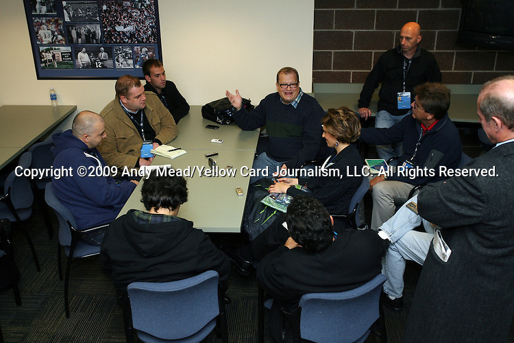 21 November 2009: Drew Carey, part owner of Seattle Sounders FC held a press conference in the Press Box at Qwest Field in Seattle, Washington one day before Major League Soccer's championship game, MLS Cup 2009, the following day.
