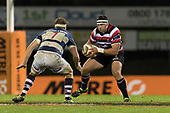 Sean Bagshaw takes on Blake Gibson. Mitre 10 Cup rugby game between Counties Manukau Steelers and Auckland played at ECOLight Stadium, Pukekohe on Saturday August 19th 2017. Counties Manukau Stelers won the game 16 - 14 and retain the Dan Bryant Memorial trophy.<br /> Photo by Richard Spranger.